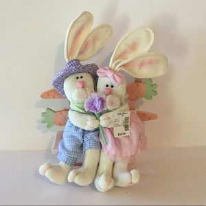 Wood & Plush Easter Bunny Spring Decorations